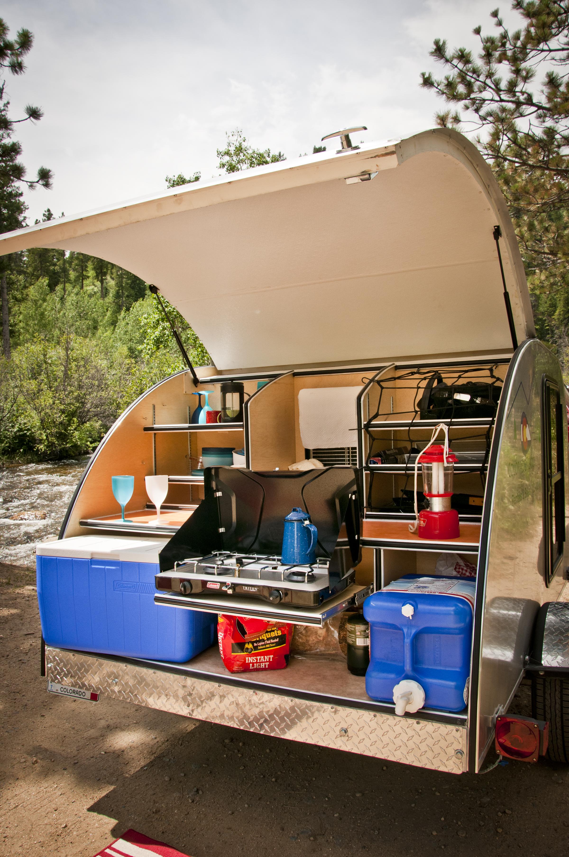 Basedrop colorado teardrops for Teardrop camper kitchen ideas
